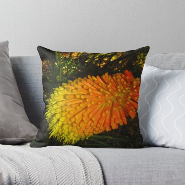 The Red Hot Poker Flower aka The Kniphofia Throw Pillow