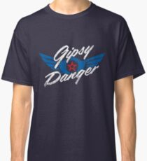Gipsy Danger Distressed Logo in White Classic T-Shirt