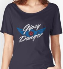 Gipsy Danger Distressed Logo in White Women's Relaxed Fit T-Shirt