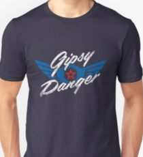 Gipsy Danger Distressed Logo in White Unisex T-Shirt