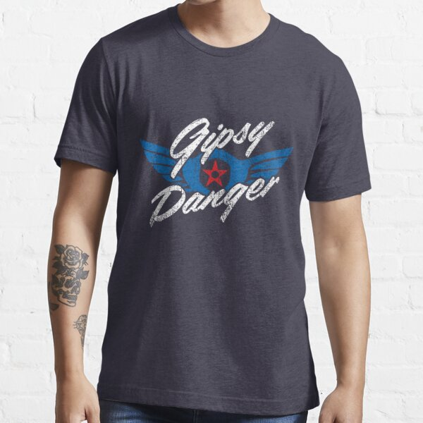 Gipsy Danger Distressed Logo in White Essential T-Shirt