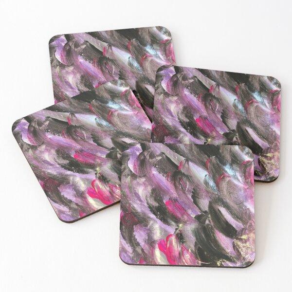 Purple Waves Abstract Art  Coasters (Set of 4)