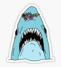 scary shark with flower crown Sticker