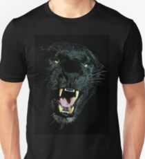 Schwarzes Panthergesicht Slim Fit T-Shirt
