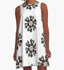 Black and Gold Flower A-Line Dress