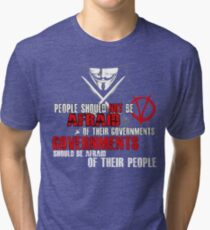 V FOR VENDETTA MOVIE GUY FAWKES CONSPIRACY QUOTE  Tri-blend T-Shirt