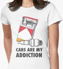 Cars are my addiction Womens Fitted T-Shirt