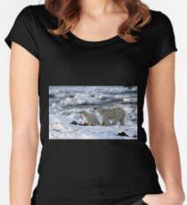 Polar Bear & Cub Tasting the Air, Churchill, Canada Women's Fitted Scoop T-Shirt