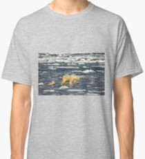 Polar Bears: Mother & Cub Struggling in Hudson Bay, Canada  Classic T-Shirt