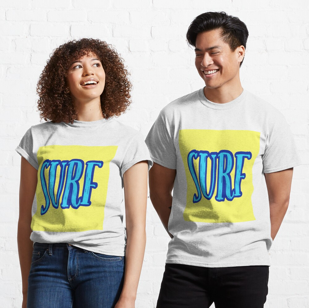 Blue and Yellow Surf Typography  Classic T-Shirt