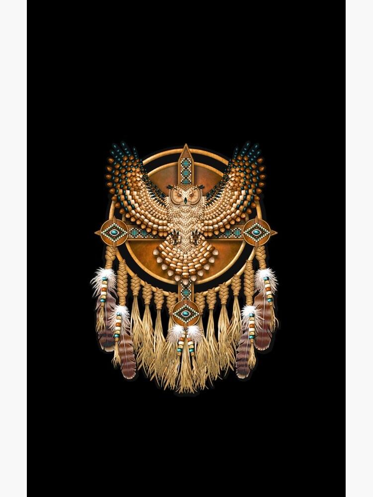 Native American Beadwork Owl Mandala by NaumaddicArts