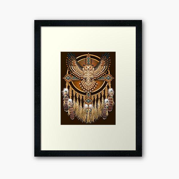 Native American Beadwork Owl Mandala Framed Art Print