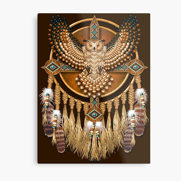 Native American Beadwork Owl Mandala Metal Print