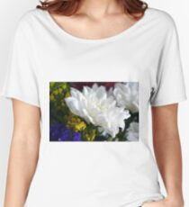 White flower macro, natural background. Women's Relaxed Fit T-Shirt