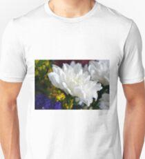White flower macro, natural background. T-Shirt