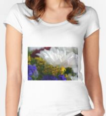 White flower macro, natural background. Women's Fitted Scoop T-Shirt