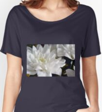 White flowers macro, natural background. Women's Relaxed Fit T-Shirt