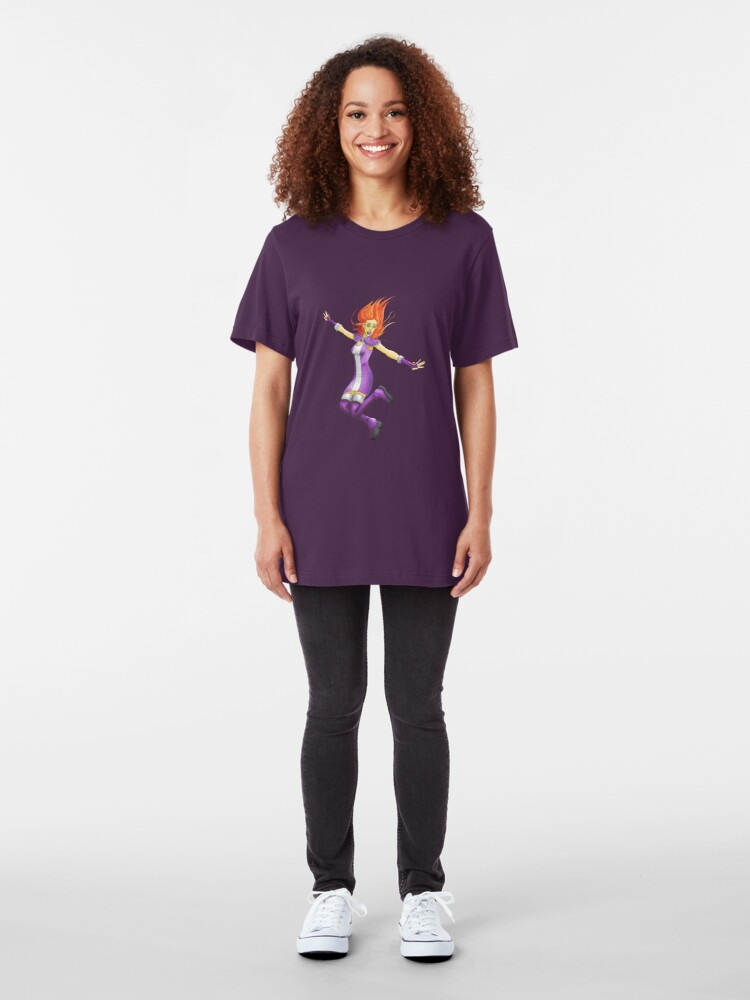 Alternate view of Star Fire (With Clothing) Slim Fit T-Shirt
