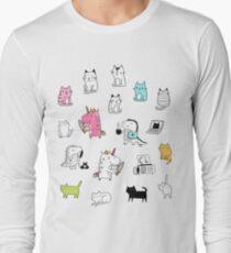 Cats. Dinosaurs. Unicorn. Sticker set. T-Shirt