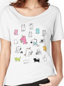 Cats. Dinosaurs. Unicorn. Sticker set. Women's Relaxed Fit T-Shirt