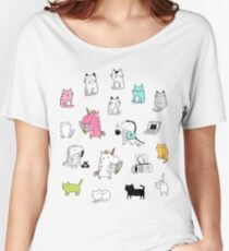 Cats. Dinosaurs. Unicorn. Sticker set. Women's Relaxed Fit T-Shirt