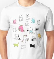 Cats. Dinosaurs. Unicorn. Sticker set. T-Shirt