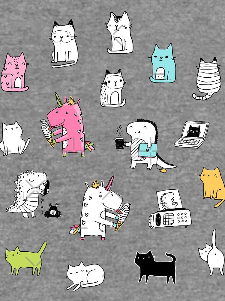 Cats. Dinosaurs. Unicorn. Sticker set. by kostolom3000