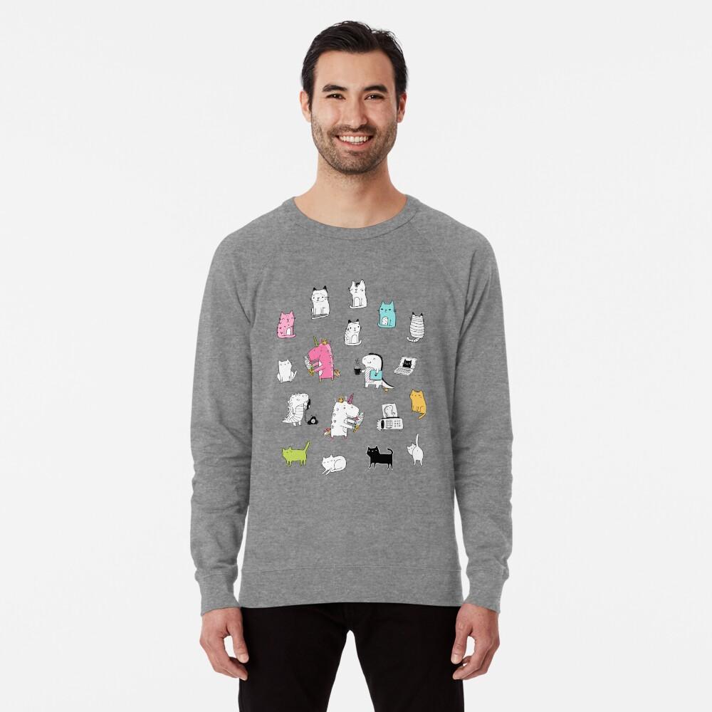 Cats. Dinosaurs. Unicorn. Sticker set. Lightweight Sweatshirt