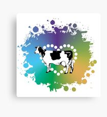 Cow Lover Colored Heart Canvas Print