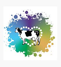 Cow Lover Colored Heart Photographic Print