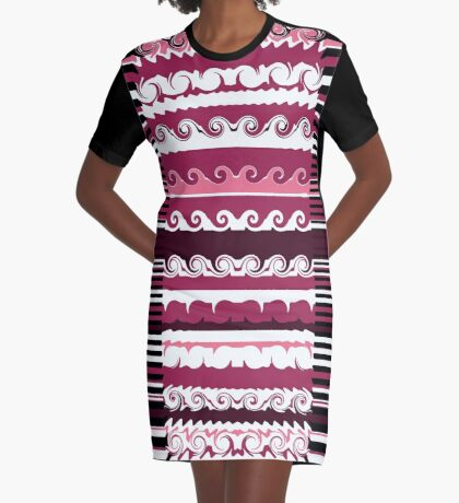 Line It With Waves Graphic T-Shirt Dress