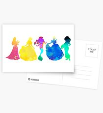 Princesses Inspired Silhouette Postcards