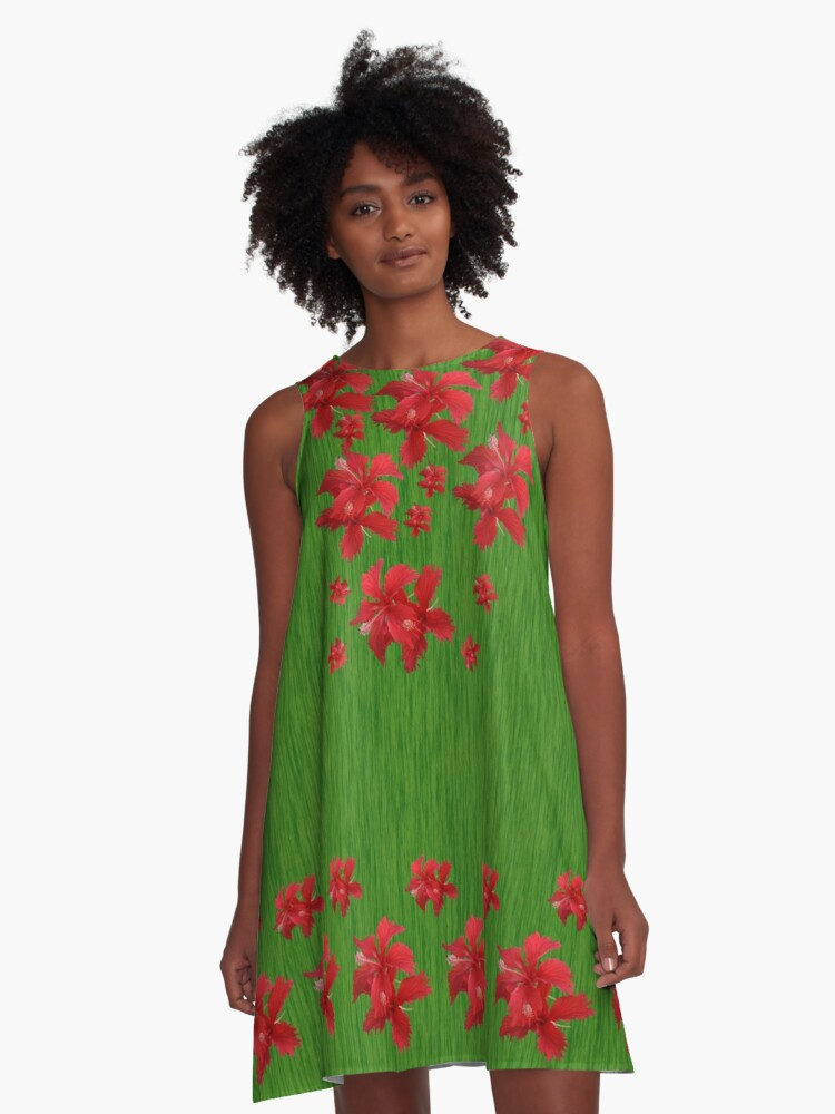 Red Hibiscus Flowers A-Line Dress Front