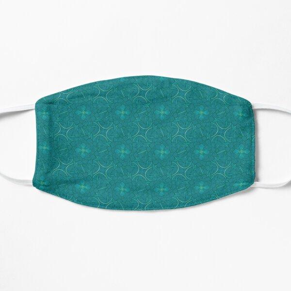 Teal flowers pattern Flat Mask