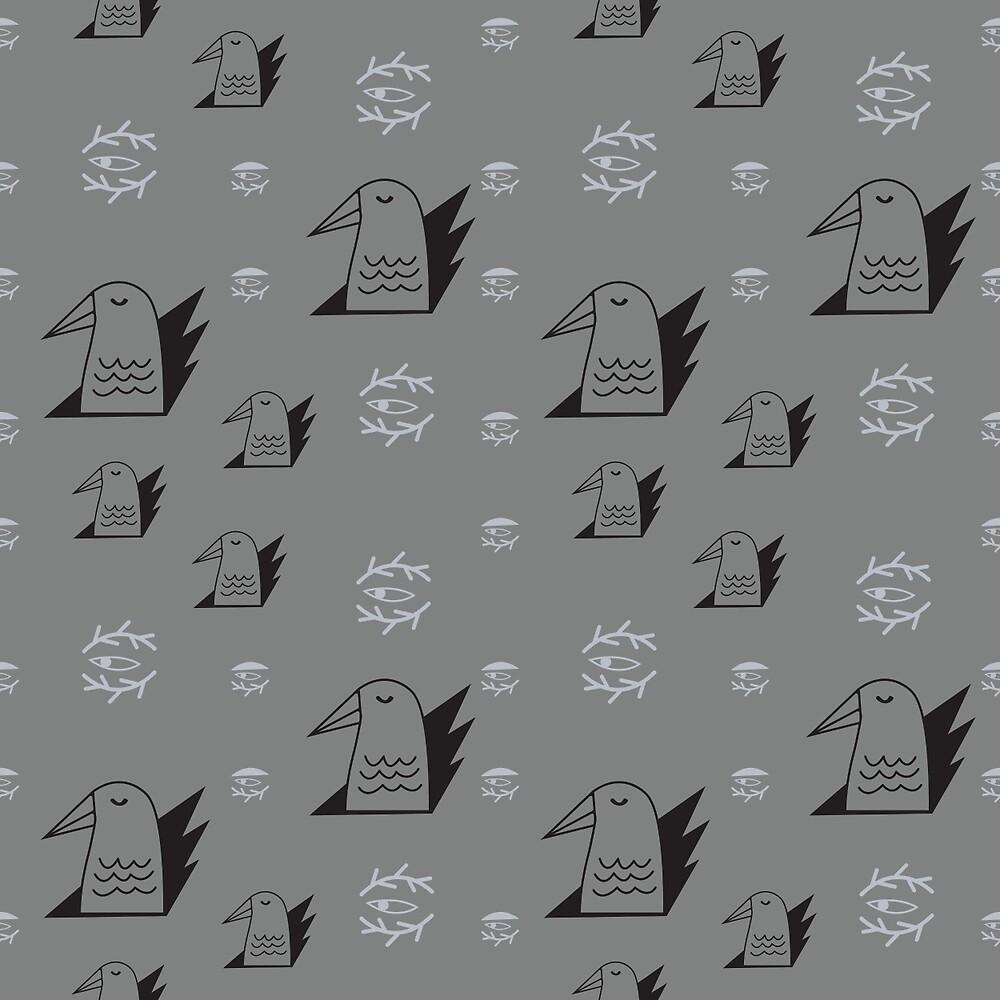 Birds and eyes gray by penbirds