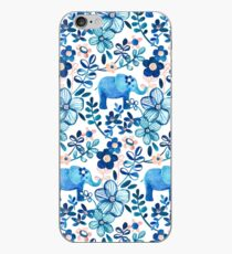 Blush Pink, White and Blue Elephant and Floral Watercolor Pattern iPhone Case