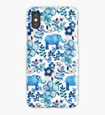 Blush Pink, White and Blue Elephant and Floral Watercolor Pattern iPhone Case/Skin