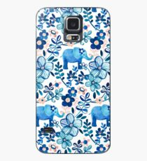 Blush Pink, White and Blue Elephant and Floral Watercolor Pattern Case/Skin for Samsung Galaxy