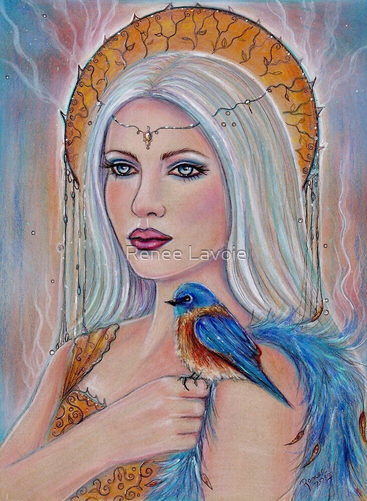 Spirit wordl fantasy portrait with bluebird by Renee Lavoie by Renee Lavoie