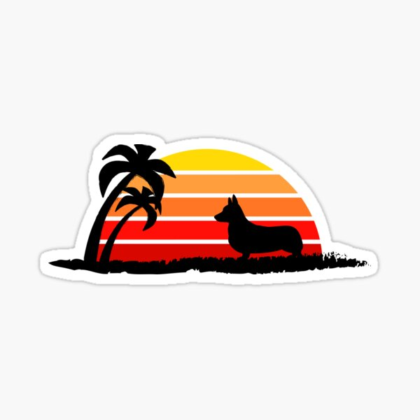 Corgi on Sunset Beach Sticker