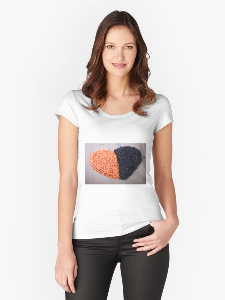 Red and black lentils forming a valentine heart shape for healthy living  Women's Fitted Scoop T-Shirt Front