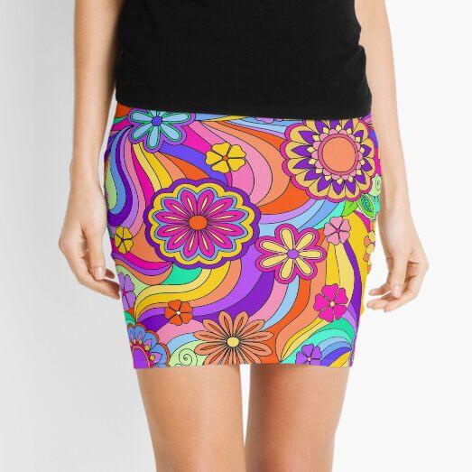 Groovy Psychedelic Flower Power Mini Skirt
