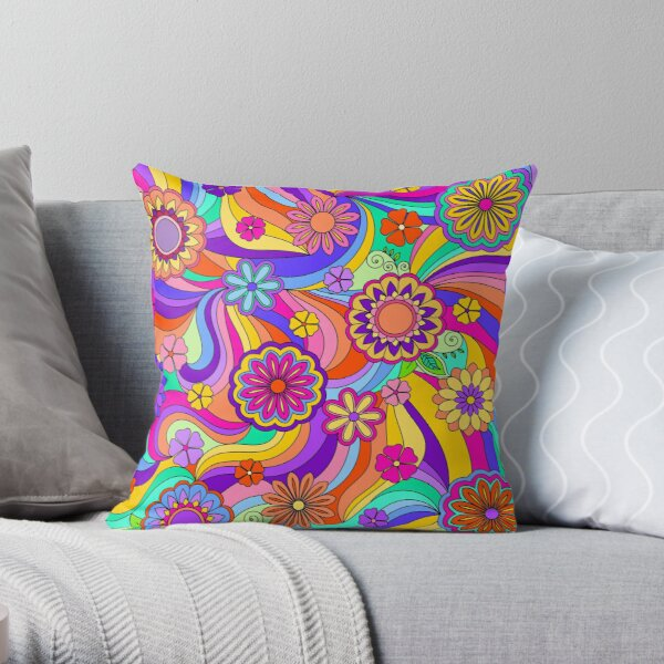 Groovy Psychedelic Flower Power Throw Pillow