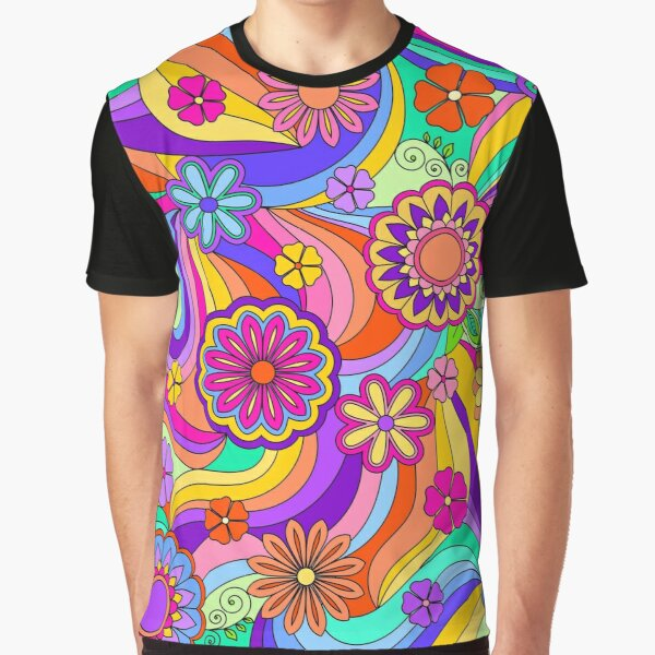 Groovy Psychedelic Flower Power Graphic T-Shirt