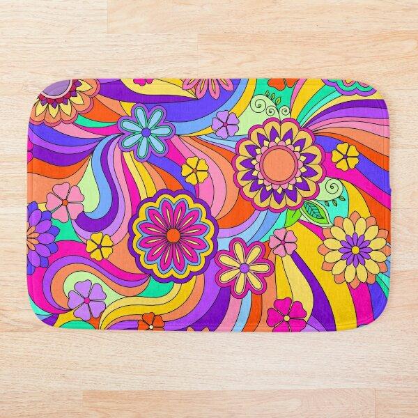 Groovy Psychedelic Flower Power Bath Mat