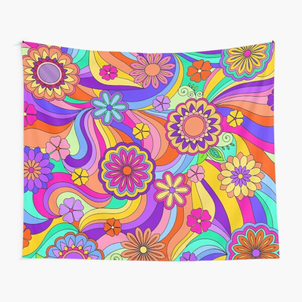 Groovy Psychedelic Flower Power Tapestry