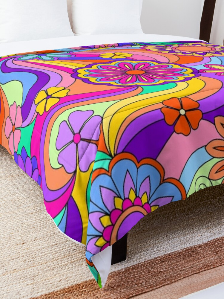 Alternate view of Groovy Psychedelic Flower Power Comforter