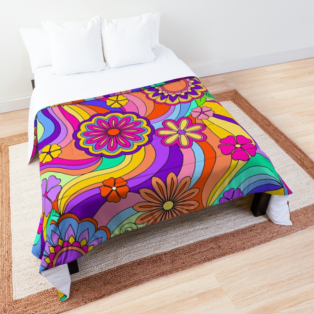 Groovy Psychedelic Flower Power Comforter