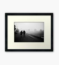 Advance in the Fog Framed Print