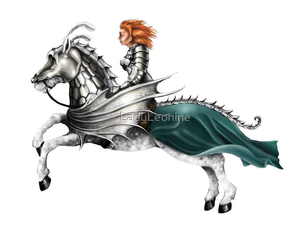 Mounted Knightess by LadyLeonine